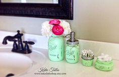 Items similar to Mason Jar Bathroom Kit. Rustic Home Decor. on Etsy Green Mason Jars, Ball Mason Jars, Mason Jar Bathroom, Bathroom Containers, Bathroom Soap Dispenser, Mason Jar Crafts, My New Room, Diy Projects To Try, Bathroom Inspiration