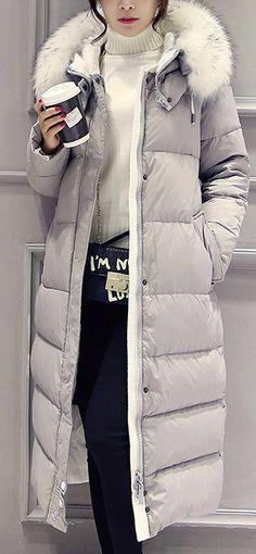 White Down Winter Coat - White Down Winter CoatClothing Length: LongClosure…