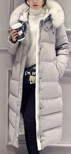White Down Winter Coat - White Down Winter CoatClothing Length: LongClosure…