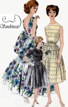 1960s Cocktail or Evening Dress with Deep V Back and Stole Wrap Vogue 9991 Vintage 60s Madman Sewing Pattern Size 14 Bust 33 UNCUT by sandritocat on Etsy
