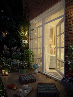 """Picture from """"Summer nights"""" - project by interiordelight. A sequel to """"Creative retreat"""" project. It brought back memories of my childhood summer nights in the countryside. I wish I had seen fireflies. 3d Art Gallery, 3d Artwork, Summer Nights, Countryside, Patio, Fireflies, Interior Design, Architecture, Design Projects"""