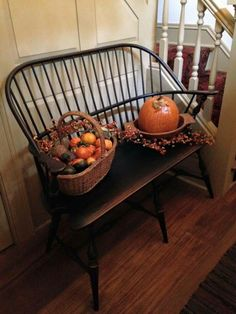 Windsor bench with a Fall theme ~ Primitive Fall, Primitive Homes, Primitive Decor, Primitive Country, Prim Decor, Country Decor, Country Fall, Country Living, Country Style