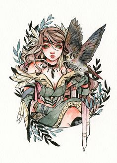 The Bird Keeper I'm already late with my prompt list but let's keep going! Art Drawings Sketches, Cool Drawings, Pretty Art, Cute Art, Character Inspiration, Character Art, Arte Sketchbook, Witch Art, Cartoon Art
