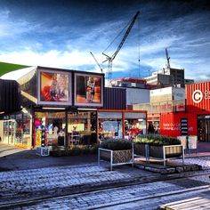 Container City in Christchurch, NZ post earthquake in 2011