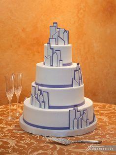 Cityscape Wedding Cake #wedding #cake