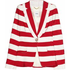 Moschino Striped silk-twill jacket (€655) ❤ liked on Polyvore featuring outerwear, jackets, blazers, coats, tops, women, striped jacket, red striped blazer, striped blazer and shoulder pad jacket