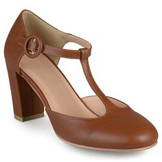 Journee Collection Womens Round Toe T-Strap Pumps Camel, 8 Regular US