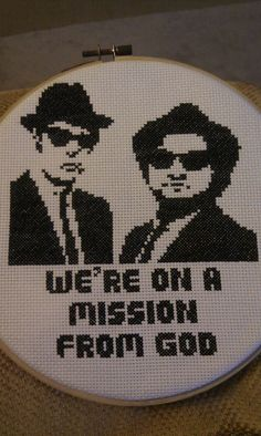 Just finished my Blues Brothers cross stitch! - Imgur Cross Stitch Love, Modern Cross Stitch, Cross Stitch Quotes, Cross Stitch Charts, Cross Stitch Patterns, Subversive Cross Stitches, Crochet Cross, Needle And Thread, Needlework