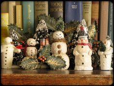 """Snowmen,"" by Naturegrl64 (Diana), via Flickr --  I love this vintage-on-vintage grouping."