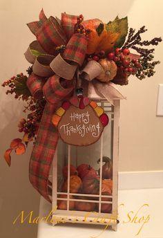 Thanksgiving Lantern swag/ fall lantern swag/ thanksgiving table decoration/ thanksgiving turkey lantern bow by MarlenesCraftShop on Etsy