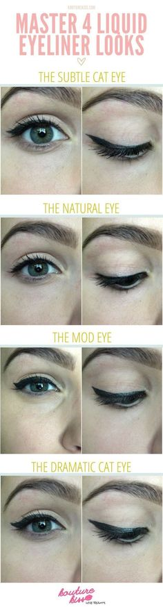 20 Liquid Eyeliner Hacks, Tips and Tricks For The Perfect Cat-Eye (And Eyeliner Hacks, How To Apply Eyeliner, Eyeliner Styles, Eyeliner Ideas, Eyeliner Tutorial, Eye Liner Tricks, Makeup Tricks, Makeup Ideas, Makeup Tutorials