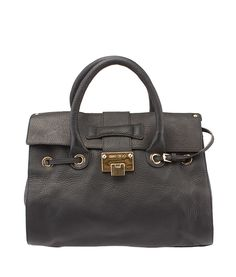 Jimmy Choo Rosalie Black Leather Tote--$448.50  #JimmyChooHandbags  #JimmyChooTotes  Buy this tote on our site, now!  http://www.cashinmybag.com/product/jimmy-choo-rosalie-black-leather-tote/