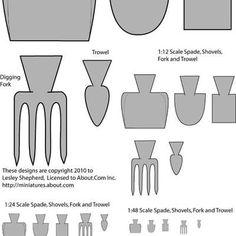 Printable patterns for dolls house scale garden forks, spades, trowels, construction and barn shovel