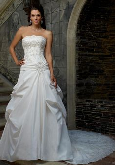 Strapless taffeta and lace A-line wedding dress with beading   Casablanca Bridal   http://knot.ly/6494BZedC
