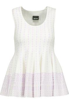 JUST CAVALLI Pleated Intarsia-Knit Peplum Top. #justcavalli #cloth #top