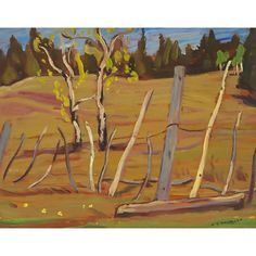 A.Y. Jackson - Indian Fence 10.5 x 13.5 Oil on panel (1949) Tom Thomson, Group Of Seven, Canadian Art, Jackson, Auction, Landscape, Fence, Artist, March