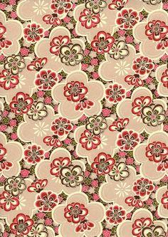 Japanese Yuzen Chiyogami Washi Paper (Floral Design 53) - A4 Sheet via Etsy