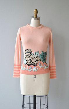 Cheetah Baby sweater  vintage 1970s sweater  70s by DearGolden