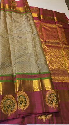 South Indian Bride Saree, Indian Bridal Sarees, Indian Silk Sarees, Wedding Silk Saree, Saree Tassels Designs, Silk Saree Blouse Designs, Bridal Blouse Designs, Simple Saree Designs, Half Saree Designs