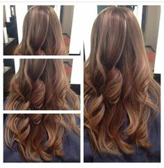 Ombre, brunette, sombre, bold colors, curls, loose waves, big waves, highlights, subtle highlights, hair by @stephshell24, #currieglenmills, www.curriedayspa.com