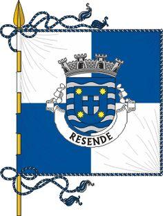 Pt-rsd1 - Heráldica autárquica portuguesa – Wikipédia, a enciclopédia livre - Vila de Resende (esquartelada)