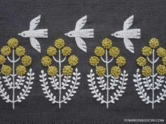 'Little Bird Pon pon Flower' by Japanese embroidery artist Yumiko Higuchi (b.1975). via the artist's blog #japaneseembroidery