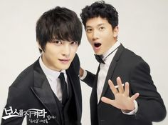 Jaejoong and Ji Sung - Protect the Boss! I don't care what anyone says about this drama.it is worth the watch because of these guys. Plus, I actually really like Protect the Boss. I thought it was cute and funny. Korean Wave, Korean Men, Korean Actors, Korean Dramas, Kim Jae Joong, Save The Last Dance, Playful Kiss, Love K, Korean Entertainment