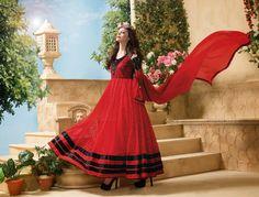 Thankar Attractive Net Brasso Designer Red Anarkali Suits - Online Shopping for Dress Material by Thankar