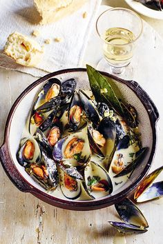 This is a version of moules marinière using Cornish ingredients – you can't go wrong really. Fish Recipes, Seafood Recipes, Cooking Recipes, Rick Stein, Braised Pork Belly, Delicious Dinner Recipes, Mussels, Special Recipes, Fish And Seafood