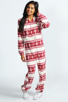 Katie Fairisle Pom Pom Onesie at boohoo.com Christmas Onesie 1c9458be9
