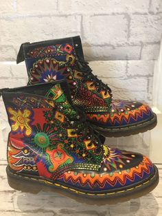 Men's RARE Dr Marten Boots Uk10 EU45 Psychedelic Bohemian Boots Made In England | eBay