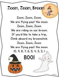 Counting backward from Halloween Craftivity. Practice counting backward from 10 with this fun craftivity. Based on a Halloween version of the familiar song Zoom, Zoom, Zoom (We are going to the moon) students will be creating their Kindergarten Songs, Preschool Music, Fall Preschool, Preschool Fingerplays, Preschool Classroom, Theme Halloween, Halloween Activities, Spooky Halloween, Halloween Poems For Kids