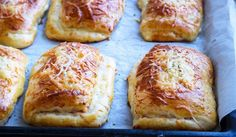 Ham and Cheese Pockets recipe Cheese Pockets Recipe, Baked Sandwiches, Appetizer Salads, Appetizers, Sweet Dough, Deli Food, Baking And Pastry, Ham And Cheese, Freshly Baked