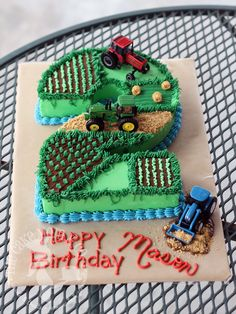 Easy Cake : Farmer Boy Number Cake Farm Fields and Tractors shaped number birthd. Easy Cake : Farmer Boy Number Cake Farm Fields and Tractors shaped number birthday cake, Tractor Birthday Cakes, Number Birthday Cakes, 2 Birthday Cake, Tractor Cakes, Tractor Cupcake Cake, Number 2 Cakes, Tractor Decor, Baby Boy 1st Birthday Party, Birthday Cake Kids Boys
