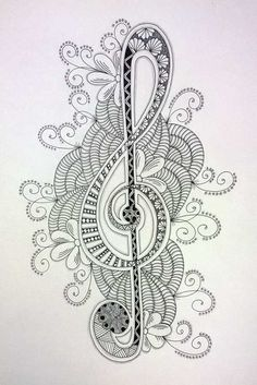 Zentangle - the art of doodling, anyone can so it! Check out this cool Seahorse zentangle Zentangle Drawings, Zentangle Patterns, Doodle Drawings, Zentangles, Music Drawings, Colouring Pages, Adult Coloring Pages, Coloring Books, Grafic Design