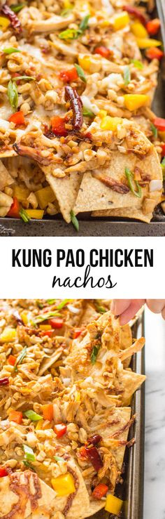 Kung Pao Chicken Nachos - love this idea! Can use cheese alternative or homemade dairy-free cheese.