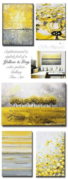 YELLOW & GREY #Art Abstract Paintings. Sophisticated, stunning, warm, & cheery trending color palette used in these unique, original, modern, palette knife, fine art - #yellow gold & #grey paintings, color palette, color scheme, wall art, home decor, canvas, wall decor, gold gray white collection textured artwork coastal home decor. ~ by Internationally Collected Artist, Christine Krainock