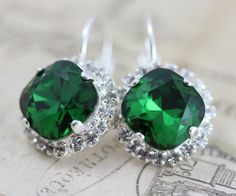 Dark Green Earrings Dark Moss Green Swarovski Crystal Earrings Emerald Bridesmaids Earrings Silver Wedding