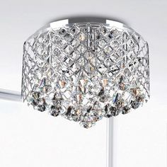 "Nerisa Chrome Crystal Flush Mount Chandelier - Overstock™ Shopping - Big Discounts on Otis Designs Flush Mounts $102 14"""