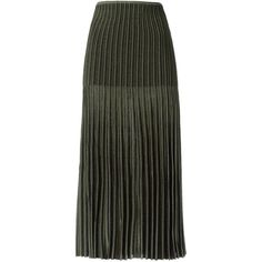 Gig midi knitted skirt (1,000 CAD) ❤ liked on Polyvore featuring skirts, green, pleated midi skirt, elastic waist skirt, calf length skirts, green midi skirt and green skirt