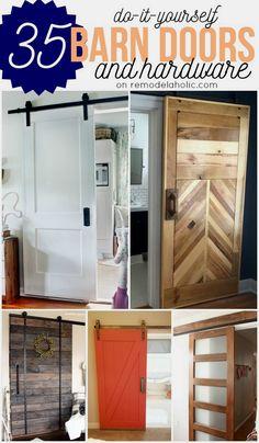 #35 DIY Barn Doors ! Great Tutorials plus budget-friendly rolling door hardware options !
