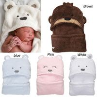 Retail Coral Fleece newborn baby bear modelling blanket product,infant hooded bath towel sleeping bags,boy girls travel product