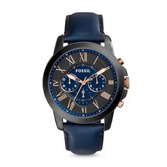 #Fossil GRANT Chronograph Leather Watch - Blue