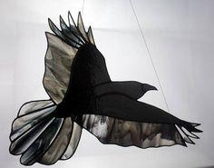 Crow Art, Raven Art, Stained Glass Birds, Stained Glass Windows, Celtic Crosses, Lovers Gift, Window Panels, Wildlife Art, Black Glass