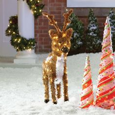 The Holiday Aisle Standing Reindeer Christmas Decoration with 150 Clear Lights