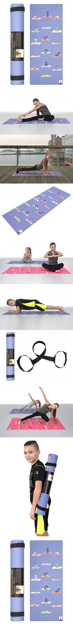POETRYOGA - Kids Yoga Mat - with Carry Strap - 60x24 Inches 4mm - Eco-Friendly SGS Approved Non-Toxic No Phthalates or Latex - Durable - Non-Slip - Multi Purpose - Yoga Dogs Poses (Blue)