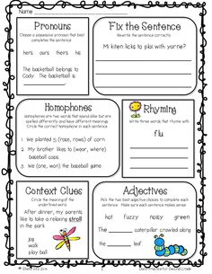 Grammar review for 2nd grade--Free morning work