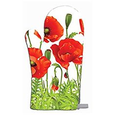 Amazon.com: Poppy Seam Flowers Kitchen Bar Oven Mitt: Kitchen & Dining
