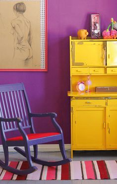 Purple Walls and Purple Chair! Plus that Yellow painted hutch is beyond awesome! {via avotakka} Bedroom Colors Purple, Purple Bedding Sets, Purple Walls, Living Room Colors, Recycled Furniture, Painted Furniture, Painted Hutch, Home Bedroom, Bedroom Decor