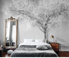 European Simple Creative Abstract Wallpaper Wall Murals, Wall Art for Living Room Bedroom , Snow Tree Wall Decor Wall Decals Wall Stickers Living Room Bedroom, Bedroom Wall, Bedroom Decor, Wall Decor, Wall Art, Tree Wall Murals, Wall Mural Decals, Cleaning Walls, Rooms Home Decor